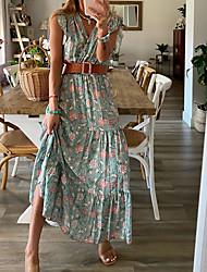 cheap -Women's A Line Dress Maxi long Dress Green Sleeveless Floral Summer V Neck Work Hot 2021 S M L XL