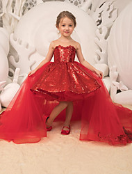 cheap -Ball Gown Court Train Party / Wedding Flower Girl Dresses - Tulle Sleeveless Strapless with Bow(s) / Appliques / Paillette