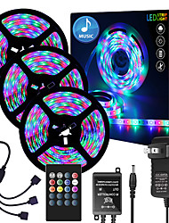 cheap -49ft  3 x 5 Meter Music Synchronous Happy Multicolour Light Strip 2835 RGB LED Flexible Light Strip with 20 key IR Controller Optional with Adapter Kit DC12V