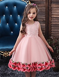 cheap -Princess / Ball Gown Knee Length Wedding / Party Flower Girl Dresses - Tulle Sleeveless Jewel Neck with Bow(s) / Pattern / Print / Flower
