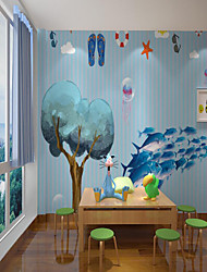 cheap -Custom Self Adhesive Mural Wallpaper Fish Children Cartoon Style Suitable For Bedroom Home Decor  Wall Cloth Room Wallcovering