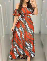 cheap -Women's A-Line Dress Maxi long Dress - Short Sleeves Print Summer Sexy 2020 Orange S M L XL