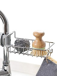 cheap -Stainless Steel Kitchen Sponge Holder Soap Dishwashing Liquid Drainer Rack Faucet Storage Drain Basket For Bathroom Sink
