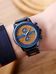 cheap -Men's Sport Watch Quartz Modern Style Fashion Water Resistant / Waterproof Wooden Analog Black Blue / Stainless Steel