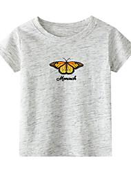billiga -Barn Småbarn Flickor Kineseri Djur Tryck Kortärmad T-shirt Vit