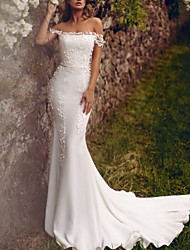 cheap -Mermaid / Trumpet Wedding Dresses Off Shoulder Sweep / Brush Train Chiffon Over Satin Short Sleeve Country Plus Size with Appliques 2020