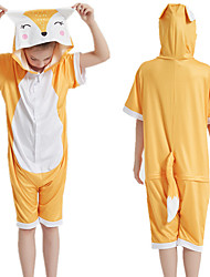 cheap -Kid's Kigurumi Pajamas Fox Onesie Pajamas Silk Fabric Orange Cosplay For Boys and Girls Animal Sleepwear Cartoon Festival / Holiday Costumes / Leotard / Onesie