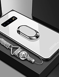 cheap -Samsung S20 Ultra Solid Color Glass Back Cover Mobile Phone Case S10Plus With Ring Bracket With Diagonal Lanyard Note9 Note8 Protective Case