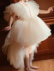 cheap -Princess / Ball Gown Knee Length Wedding / Party Flower Girl Dresses - Tulle Short Sleeve / Sleeveless V Neck with Tier / Appliques