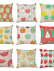 cheap -9 pcs Linen Pillow Cover, Food Fruit Casual Modern Square Traditional Classic