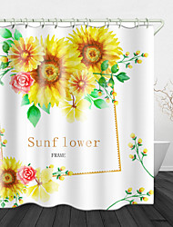 cheap -Oil flowers Digital Print Waterproof Fabric Shower Curtain for Bathroom Home Decor Covered Bathtub Curtains Liner Includes with Hooks