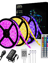 cheap -15M(3*5M) LED Light Strips RGB Tiktok Lights 3528 SMD 900 LEDs 8mm Strip Flexible Light LED Tape waterproof AC 12V 600LEDs with 44Key IR Remote Controller Kit