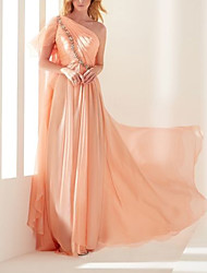 cheap -Sheath / Column Elegant Beautiful Back Engagement Formal Evening Dress One Shoulder Short Sleeve Sweep / Brush Train Chiffon with Pleats Sequin 2020