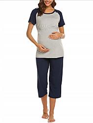 cheap -Women's Round Neck Suits Pajamas Color Block