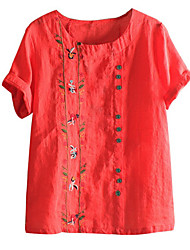 cheap -Women's Blouse Shirt Floral Flower Round Neck Tops Loose Basic Top White Red Green