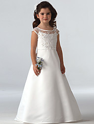 cheap -A-Line Floor Length Wedding / Party Flower Girl Dresses - Lace Sleeveless Jewel Neck with Beading