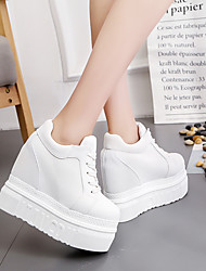 cheap -Women's Sneakers Spring / Fall Hidden Heel Round Toe Daily Outdoor Canvas White / Black / Red