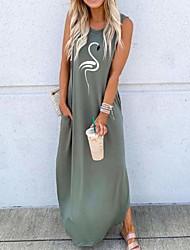 cheap -Women's Shift Dress Maxi long Dress - Sleeveless Print Summer Casual 2020 Black Blue Green S M L XL XXL