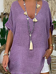 cheap -Women's Tops Solid Colored T-shirt V Neck Daily Purple Yellow Fuchsia Gray Light Blue S M L XL 2XL 3XL