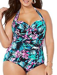 cheap -Women's Plus Size One-piece Swimwear Swimsuit - Floral XL XXL XXXL Blue
