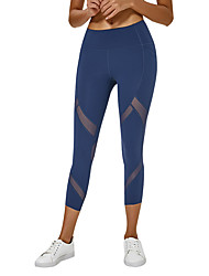 cheap -Women's High Waist Yoga Pants Side Pockets Patchwork Capri Leggings Butt Lift 4 Way Stretch Breathable Purple Pink Blue Nylon Mesh Yoga Running Fitness Sports Activewear High Elasticity / Quick Dry