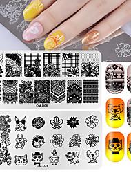 tanie -2 szt. Szablon do stemplowania paznokci szablon płytki z serii zwierząt / seria kwiatowa kreatywny / trwały zdobienie paznokci pedicure koreański / moda sportowa&na wolnym powietrzu