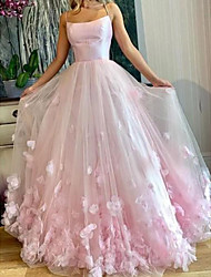cheap -A-Line Elegant Floral Engagement Prom Dress Spaghetti Strap Sleeveless Floor Length Tulle with Pleats Appliques 2020