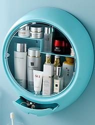 cheap -1pc Wall-mounted Cosmetic Storage Box Bathroom Waterproof Makeup Organizer Box Large Capacity Plastic Home Organization and Storage
