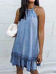 cheap -Women's Denim Dress Knee Length Dress - Sleeveless Solid Color Summer Work Denim 2020 Light Blue S M L XL