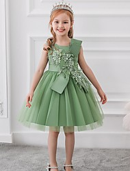 cheap -Princess / Ball Gown Knee Length Party / Wedding Flower Girl Dresses - Satin / Tulle Sleeveless Jewel Neck with Bow(s) / Appliques