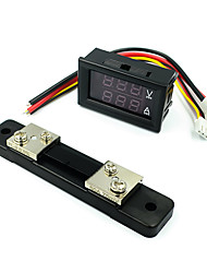 cheap -DC0-100V 50A Led Dc Dual Display Digital Voltage And Current Meter With Fine-Tuning Digital Voltage Ammeter  Red and blue 50A  Shunt