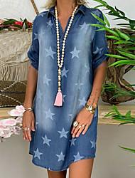 cheap -Women's Denim Dress Short Mini Dress Blue Light Blue Short Sleeve Star Print Summer V Neck Hot Casual Loose 2021 S M L XL XXL 3XL