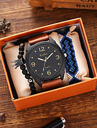 cheap -Men's Sport Watch Quartz Vintage Style Stylish Vintage Chronograph Analog Black Blue Brown / PU Leather / Large Dial