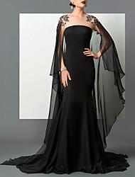 cheap -Mermaid / Trumpet Empire Elegant Engagement Formal Evening Dress Strapless Sleeveless Sweep / Brush Train Chiffon with Sleek 2021