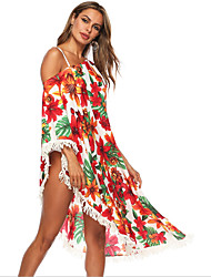 cheap -Women's Swimsuit Floral Normal Swimwear Bathing Suits Red