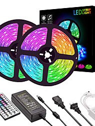 cheap -ZDM 2*5M LED Light Strips RGB Tiktok Lights 2835 600 LEDs 8mm 36W Strip Flexible Light LED with 44Key IR Remote Controller Kit and 12V 3A Power Supply AC110-240V