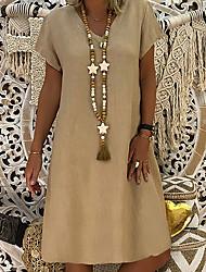 cheap -Women's Shift Dress Knee Length Dress - Short Sleeve Summer V Neck Casual Holiday 2020 Yellow Blushing Pink Khaki Light Blue S M L XL XXL XXXL
