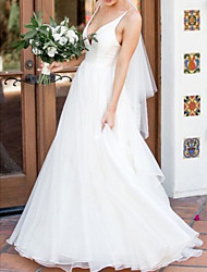 cheap -A-Line Wedding Dresses V Neck Sweep / Brush Train Organza Satin Sleeveless Simple Backless with 2020