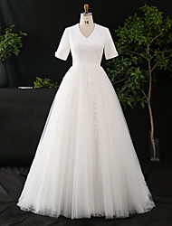 cheap -A-Line Wedding Dresses V Neck Court Train Satin Tulle Half Sleeve Simple Elegant with Appliques 2020