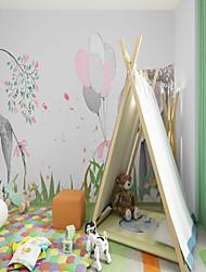 cheap -Art Deco Custom Self-adhesive Mural Wallpaper Deer Elephant Children Cartoon Style Suitable For Bedroom Wall Art