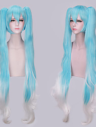 povoljno -Vocaloid Hatsune Miku Cosplay Wigs Žene S 2 Ponytails 47 inch Otporna na toplinu vlakna Kovrčav Postupno Plava Anime