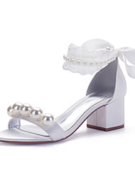 cheap -Women's Wedding Shoes Spring / Summer Block Heel Open Toe Sweet British Minimalism Wedding Party & Evening Imitation Pearl / Lace / Lace-up Solid Colored Satin White / Ivory