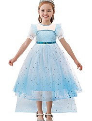 cheap -Princess / A-Line Floor Length Wedding / Party Flower Girl Dresses - Tulle Short Sleeve Jewel Neck with Paillette