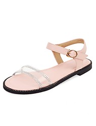 cheap -Women's Sandals 2020 Summer Flat Heel Open Toe Preppy Minimalism Daily Sparkling Glitter / Buckle Color Block PU White / Pink / Blue / Clear / Transparent / PVC