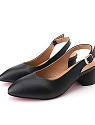 cheap -Women's Sandals Summer Block Heel Pointed Toe Casual Daily Outdoor Leather Black / Beige