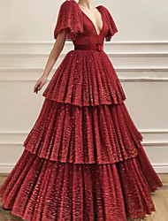 cheap -Ball Gown Glittering Luxurious Engagement Formal Evening Dress V Neck Short Sleeve Floor Length Tulle with Pleats Tier 2020