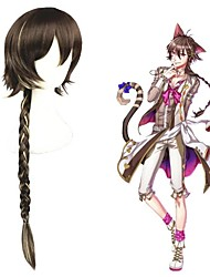 cheap -Cosplay Costume Wig Cosplay Wig Cheshire Cat 100 Sleeping Princes Plaited Cosplay Halloween Braid With Bangs Wig Long Brown Synthetic Hair 31 inch Women's Anime Cosplay Lovely Mixed Color