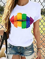 voordelige -Dames Tops Grafisch T-shirt - Print Ronde hals Standaard Dagelijks Lente Zomer Wit XS S M L XL 2XL 3XL 4XL