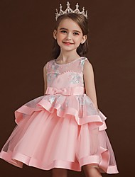cheap -Princess / Ball Gown Knee Length Wedding / Party Flower Girl Dresses - Tulle Sleeveless Jewel Neck with Bow(s) / Tier / Embroidery