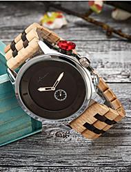 cheap -Men's Dress Watch Quartz Wood 30 m Wooden Day Date Analog Fashion Cool - Black Yellow Brown One Year Battery Life